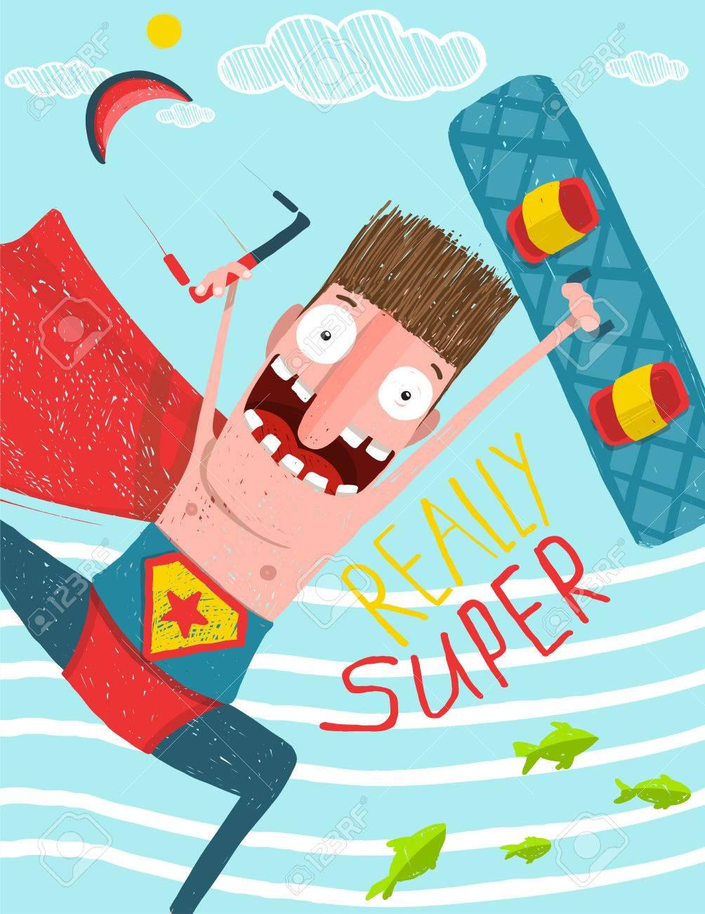 Carte Anniversaire Kitesurf.Kite Surf Caricature Conception De Carte De Bande Dessinee Hero Humour Illustration Drole Kite Et Planche