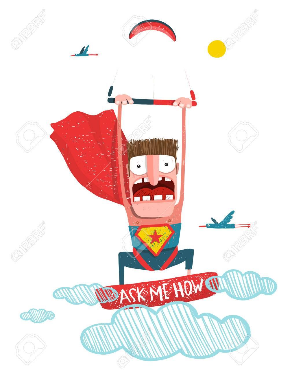 Scared Kite Boarding Superhero Cartoon In Costume With Kite