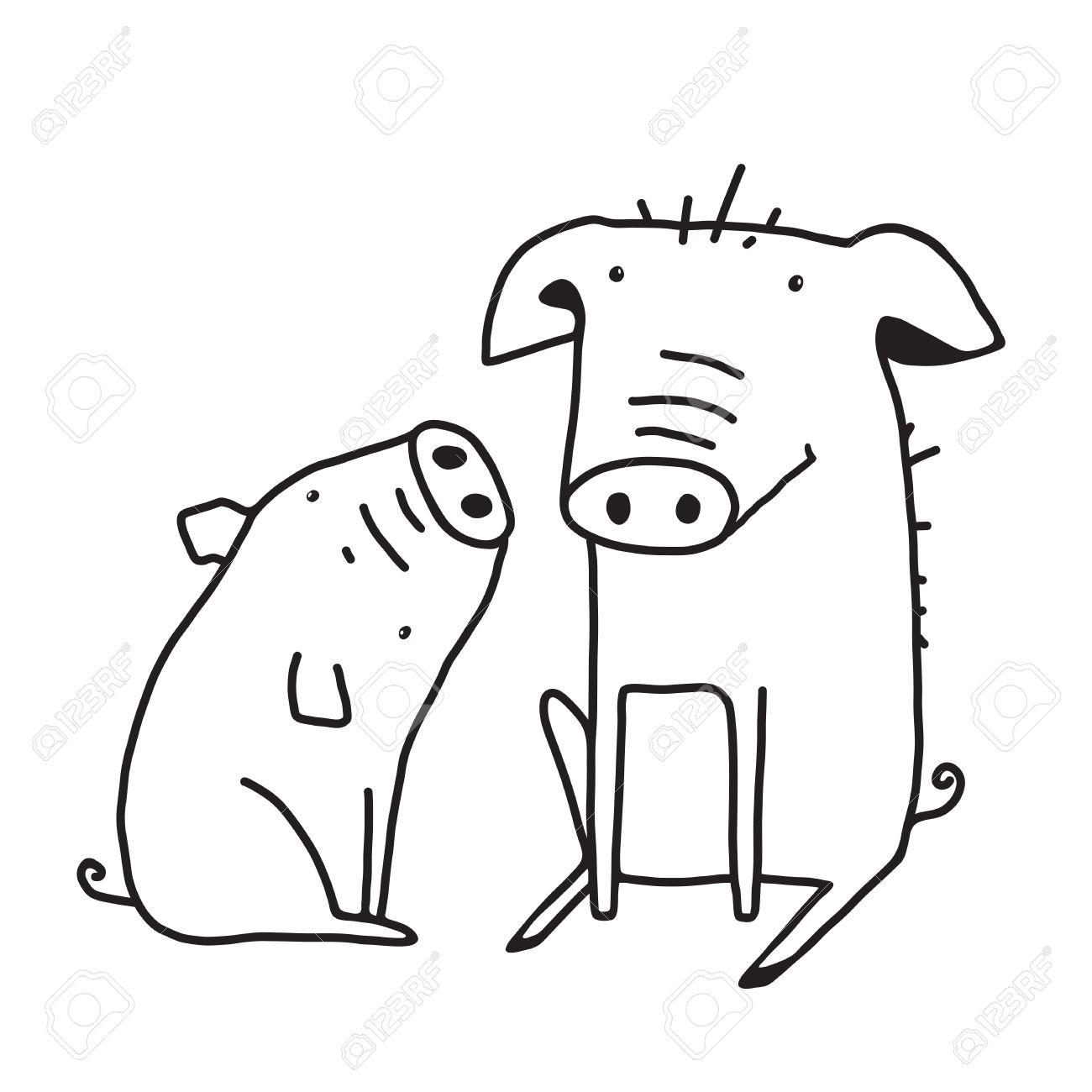 Tiere Auf Dem Bauernhof Strichzeichnung Illustration Animal Farm