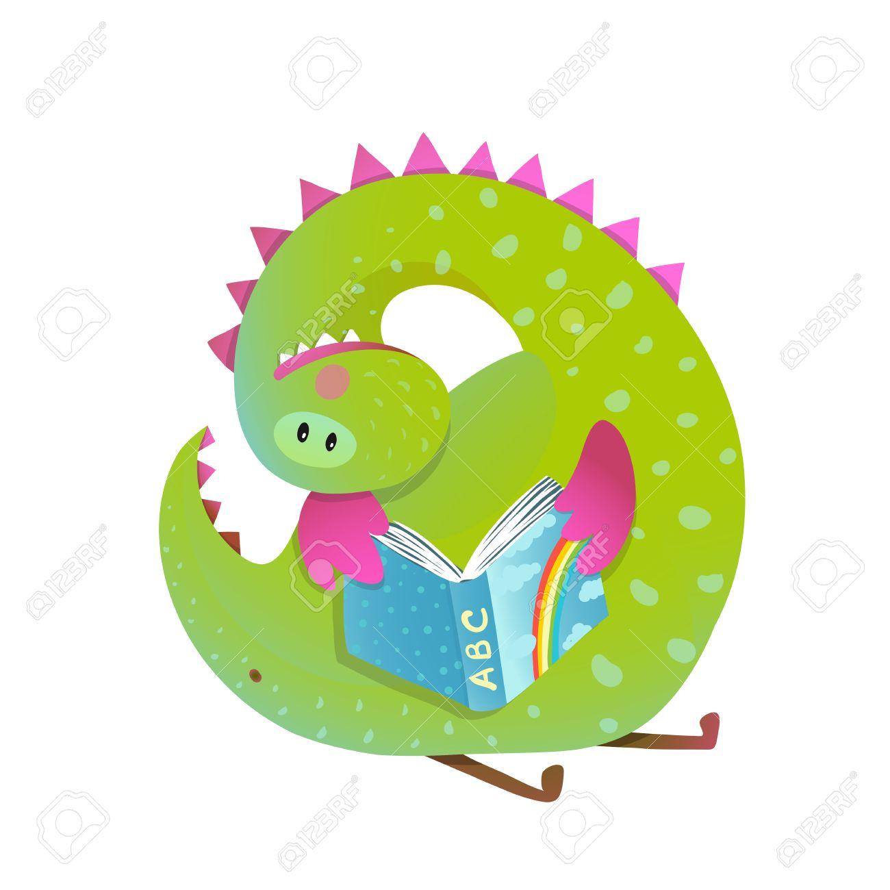 Lectura Del Bebé Dragón Estudio De Un Libro De Dibujos Animados ...
