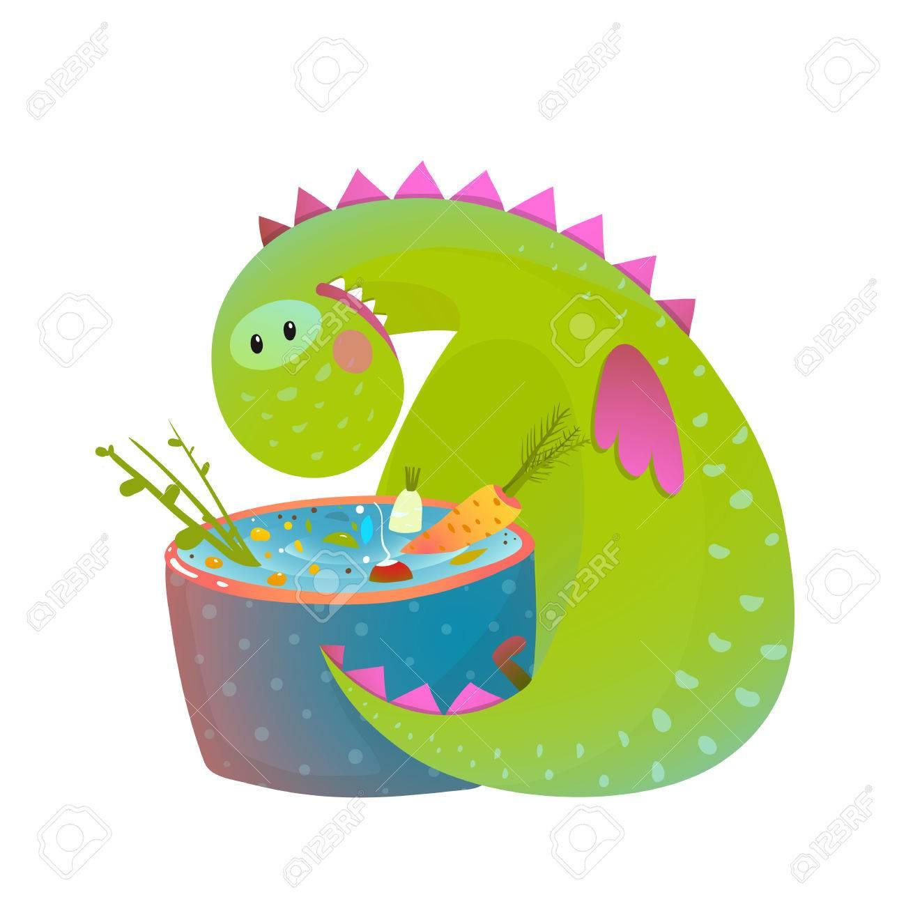 Los Niños Vegetarianos Dragón Bebé De La Diversión De Comer La ...