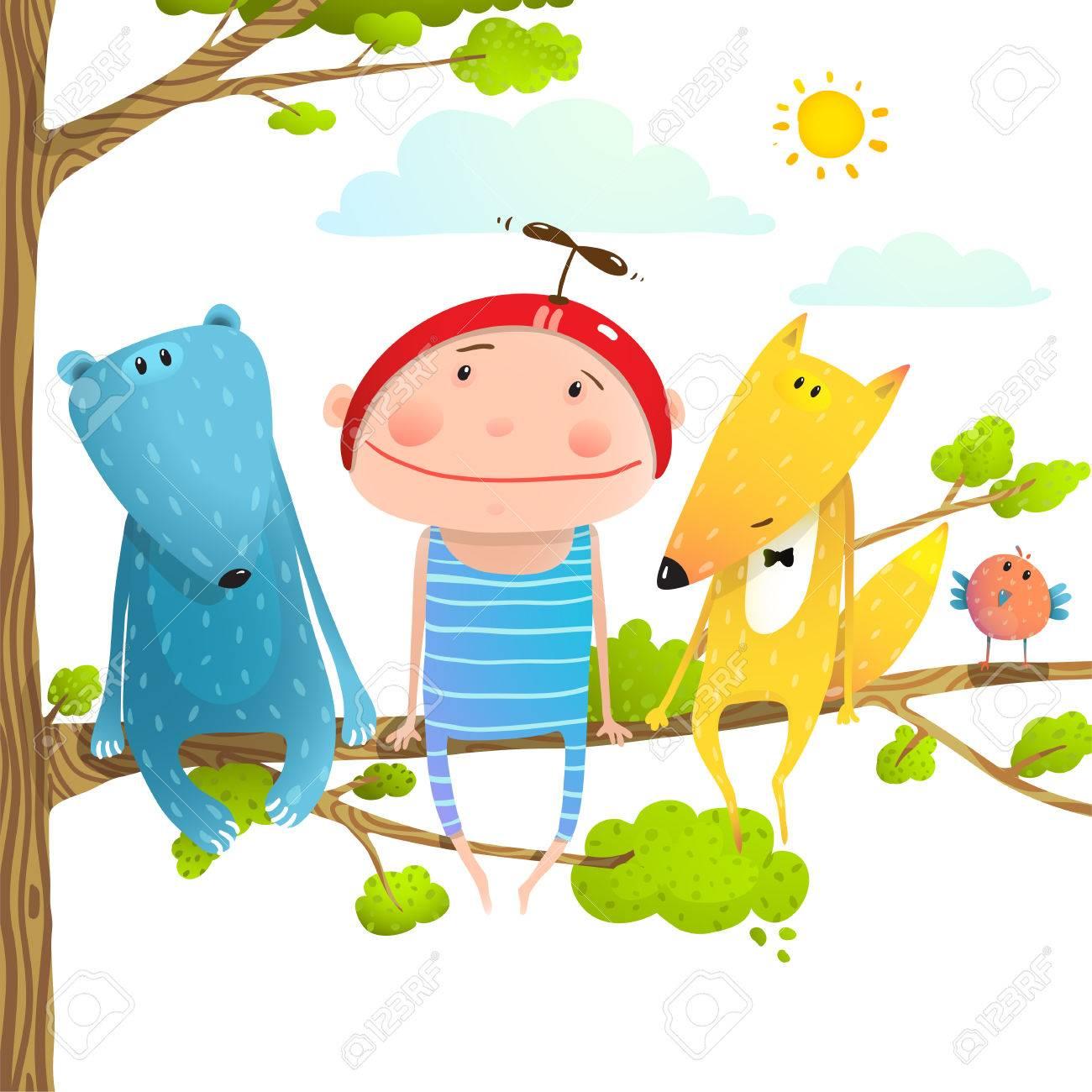 Animales Del Bebé Y Cabrito Infantil Amigos Divertidos Dibujos