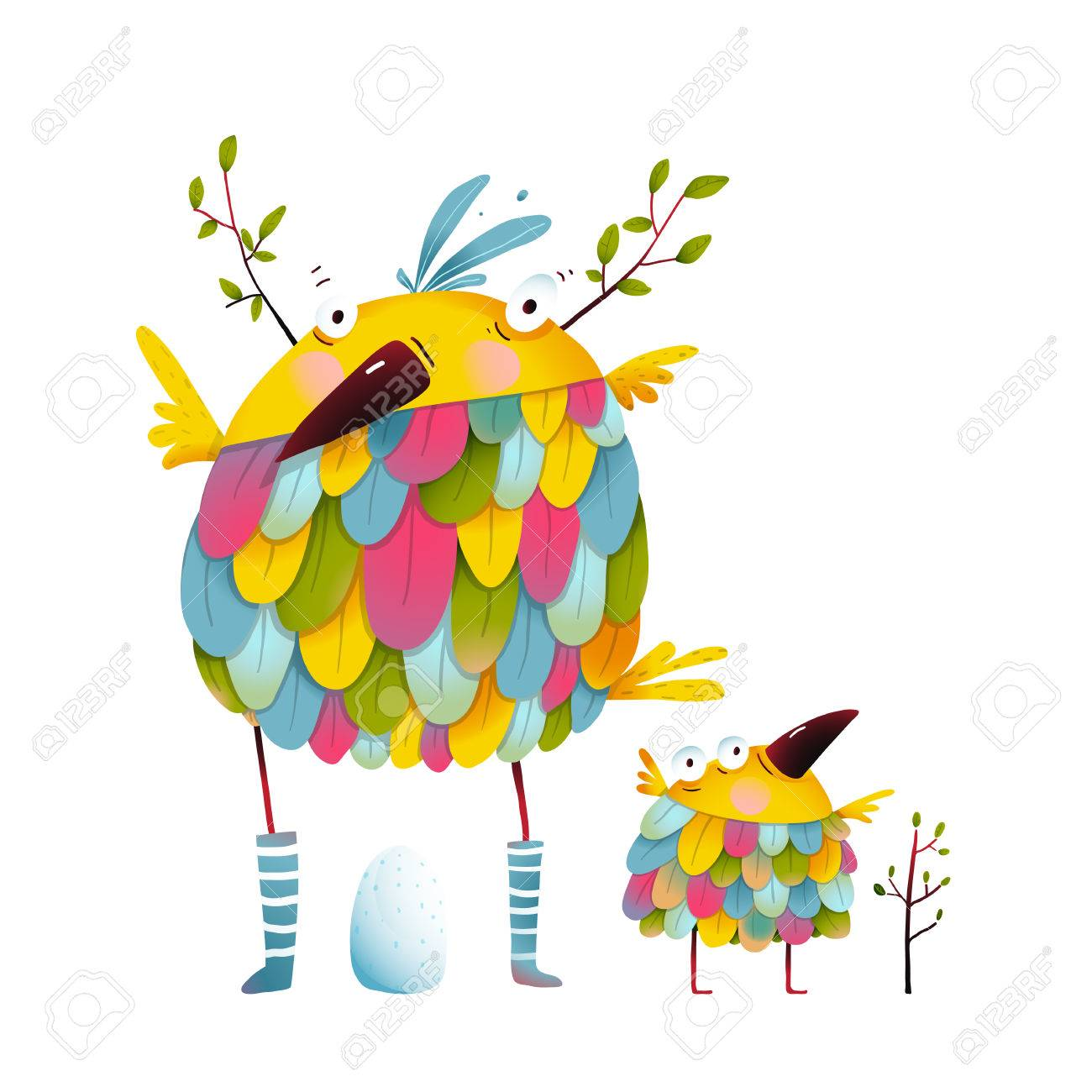 Funny bird family mother and nestling. Bird parent funny love child greeting card design. illustration. - 56058616