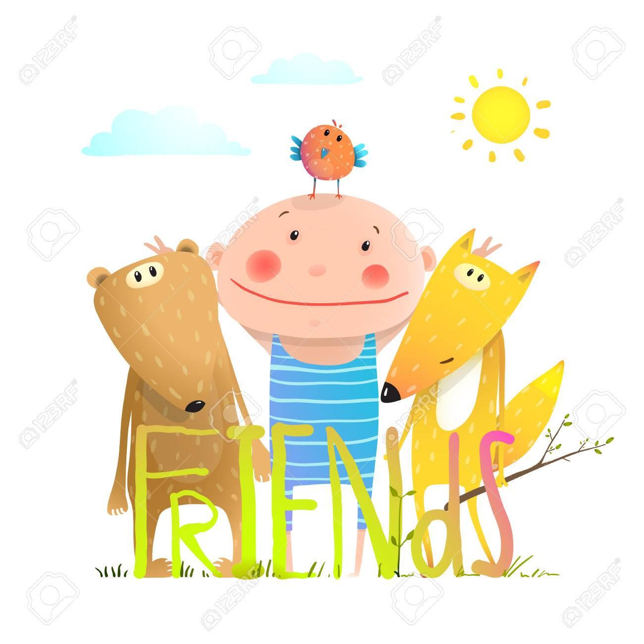 Amitié Dessin enfants amitié mignon brillamment coloré dessin animé, illustration
