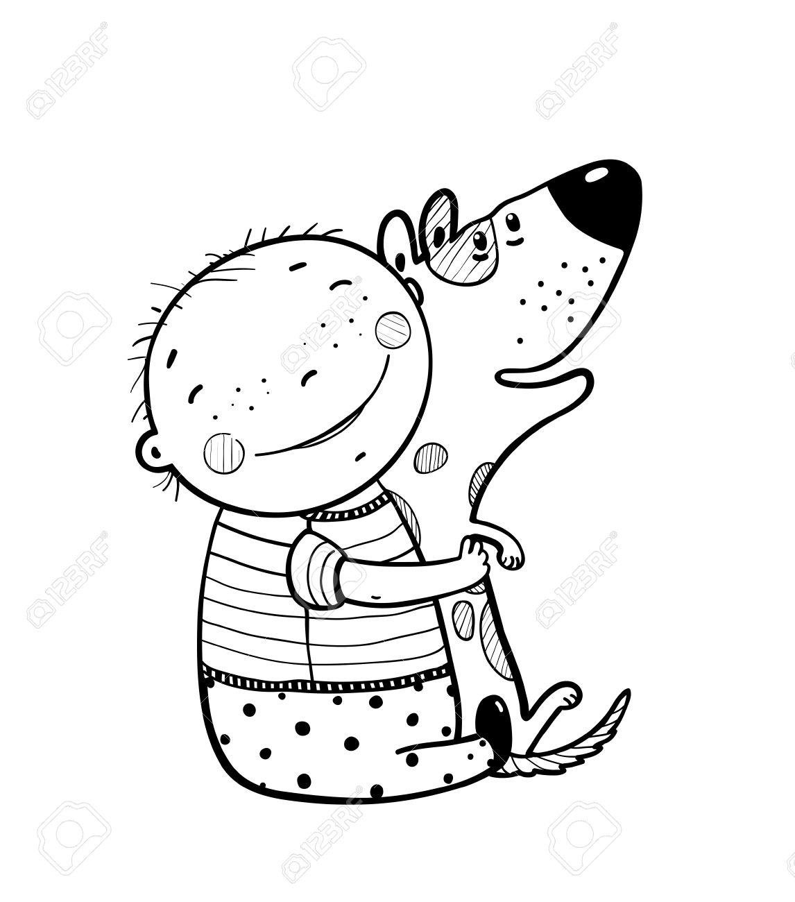 Felicidad Niño Sonriente Con El Animal Doméstico Amigo De Los