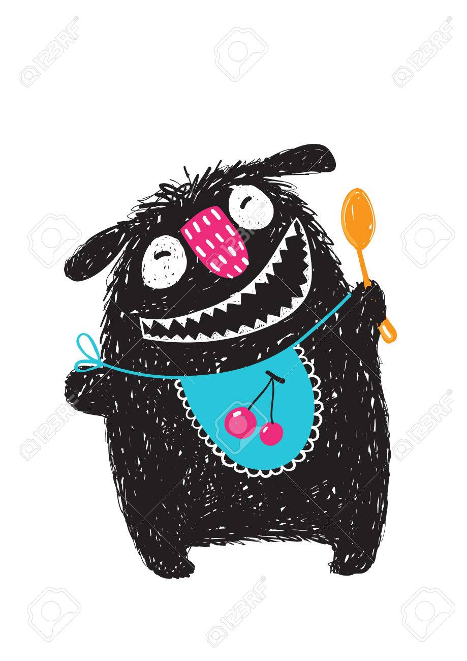 Fun Happy Cute Kids Monster Hungry Ready to Eat. Happy funny little monster with a spoon and bib and big mouth for children cartoon illustration. Vector drawing. - 64067360