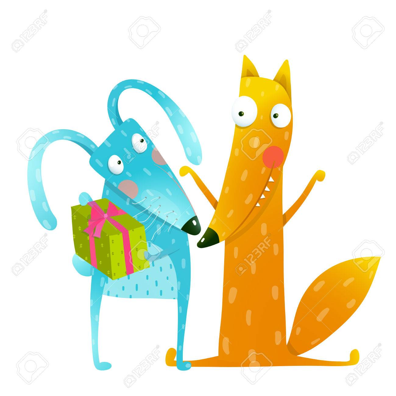 Happy birthday card template with bunny and fox characters cute happy birthday card template with bunny and fox characters cute red fox and blue bunny pronofoot35fo Images