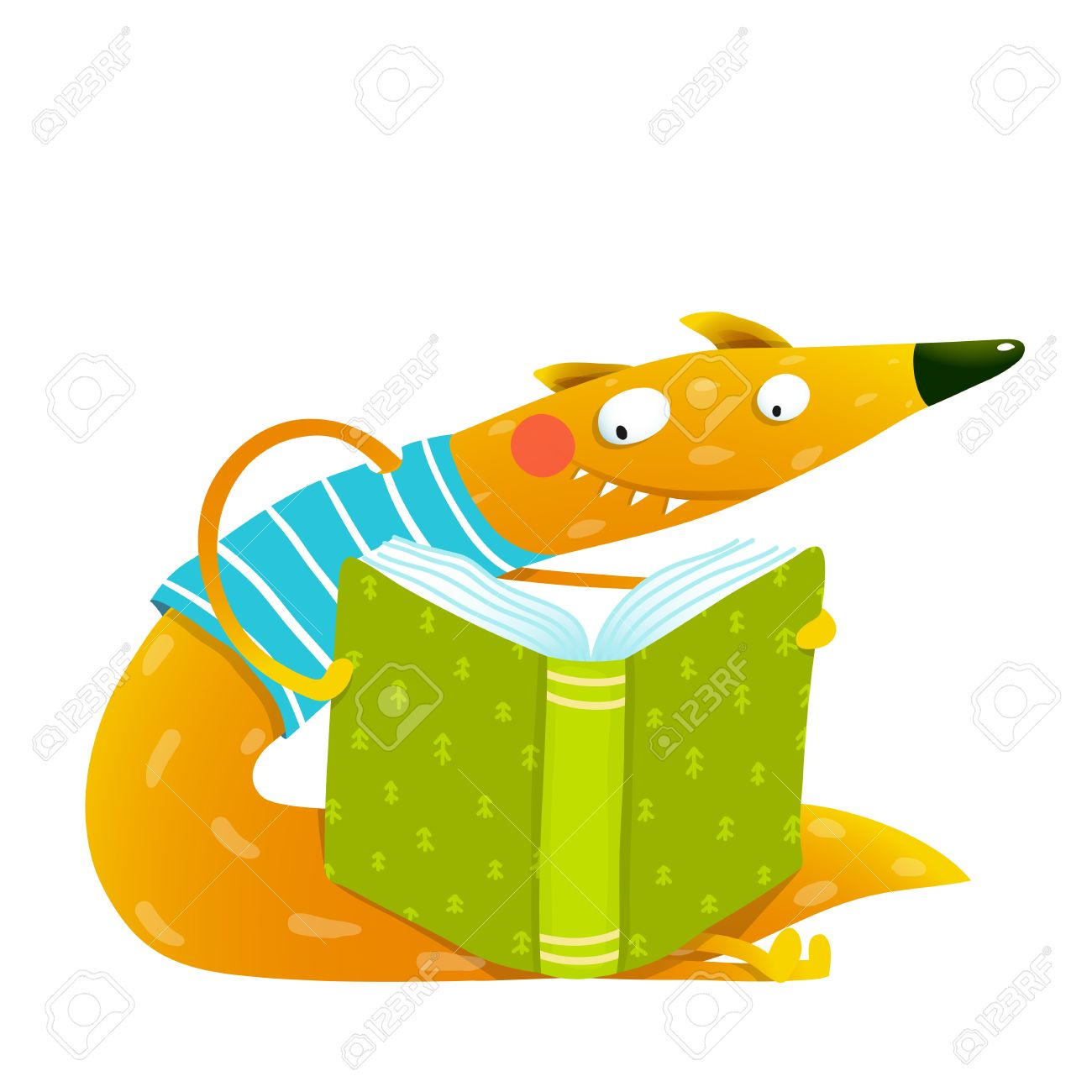 Fun Colorful Fox Reading Kids Book. Cute Red Fox Sitting And ...