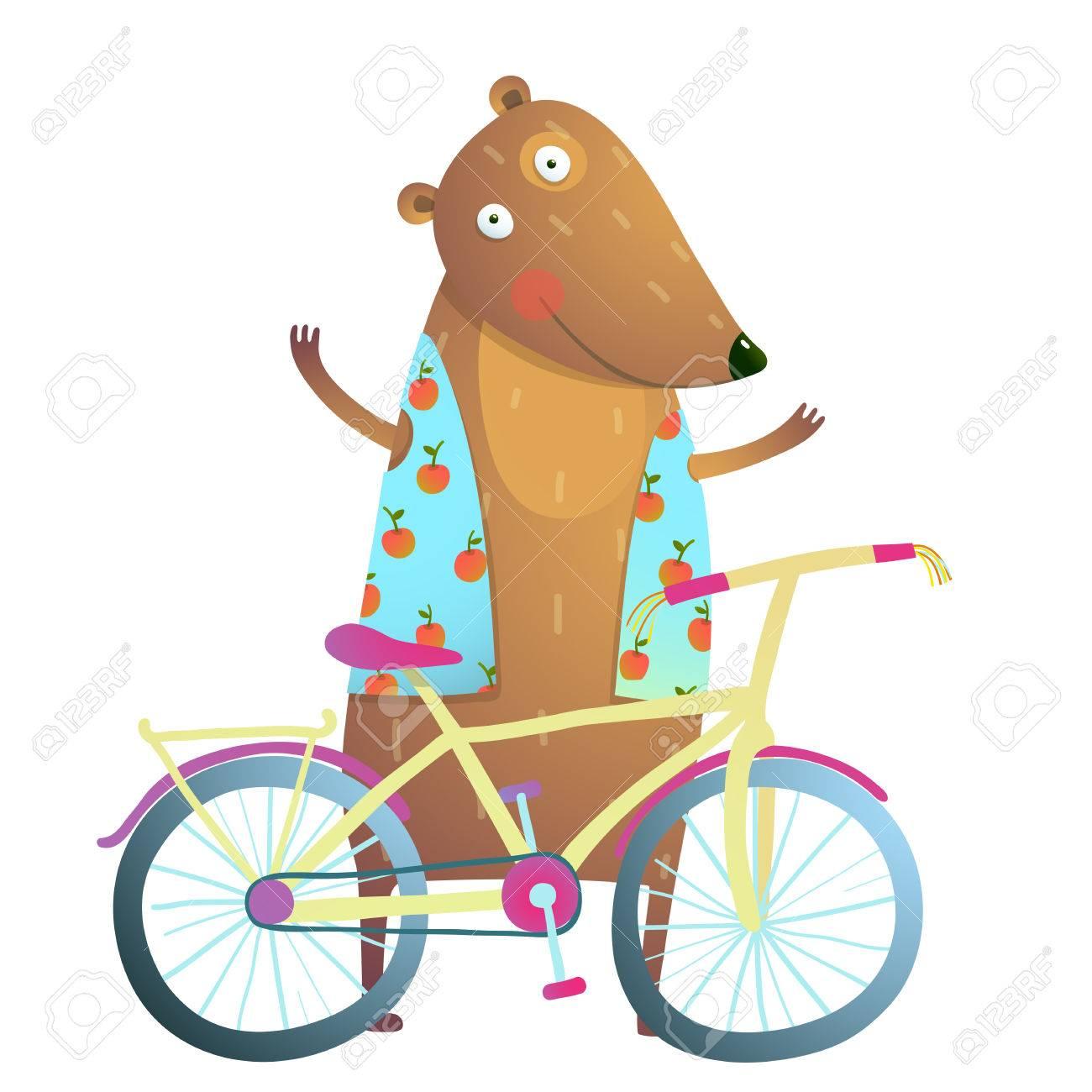 子供のための自転車かわいいスポーツ漫画と赤ちゃんテディベア文字カブ