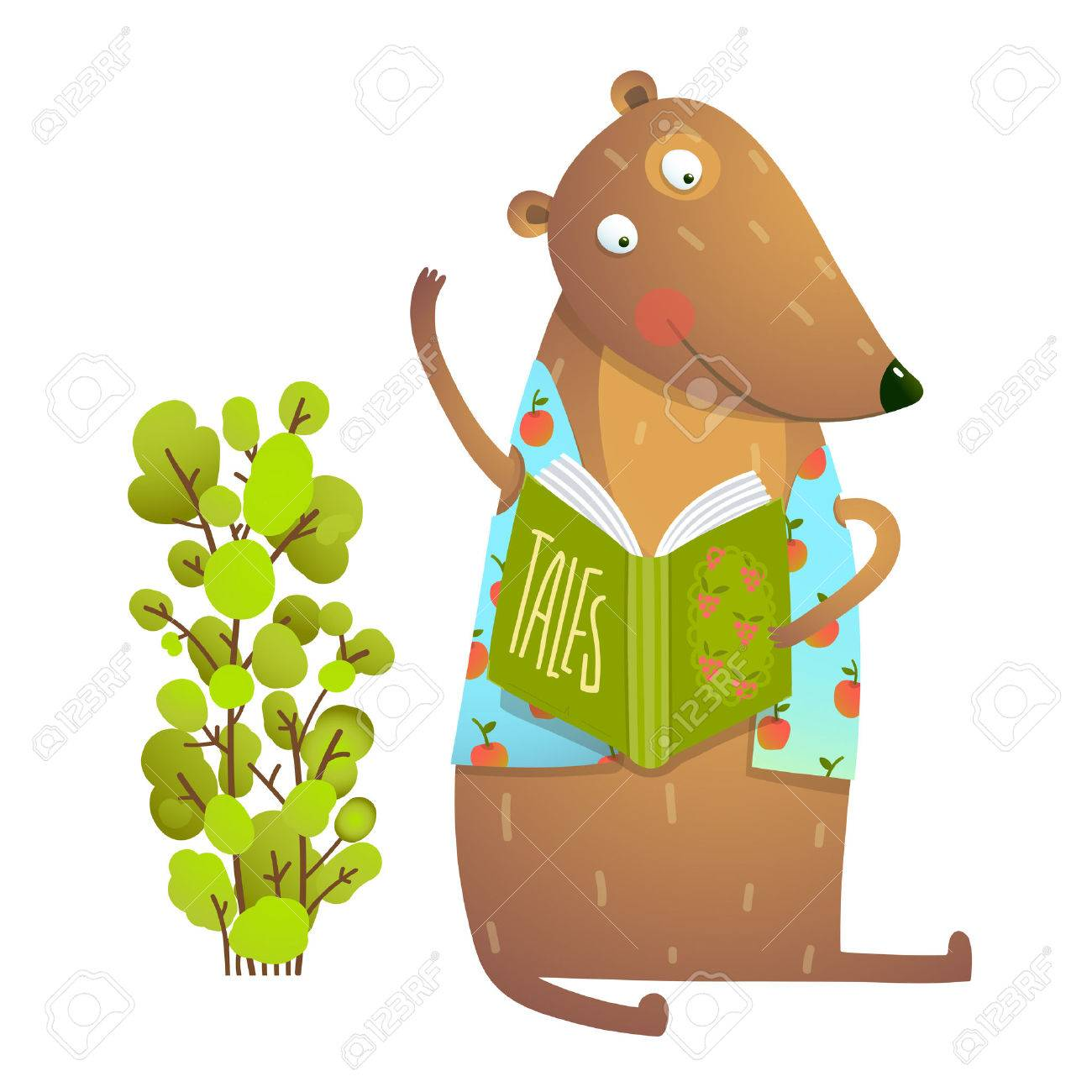 Baby Teddy Bear Character Reading Book Learning. Bear cub cute sitting studying and learning adorable animal illustration. Vector illustration. - 64067523