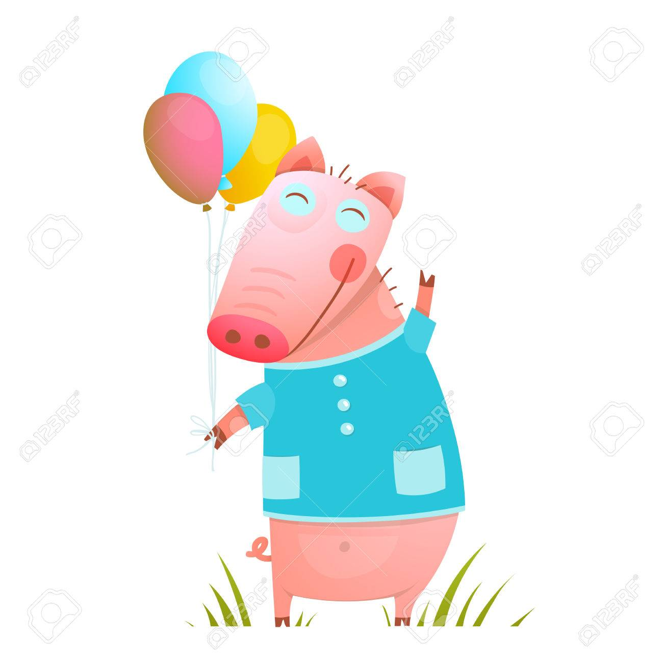 adorable baby pig with balloons for kids pig