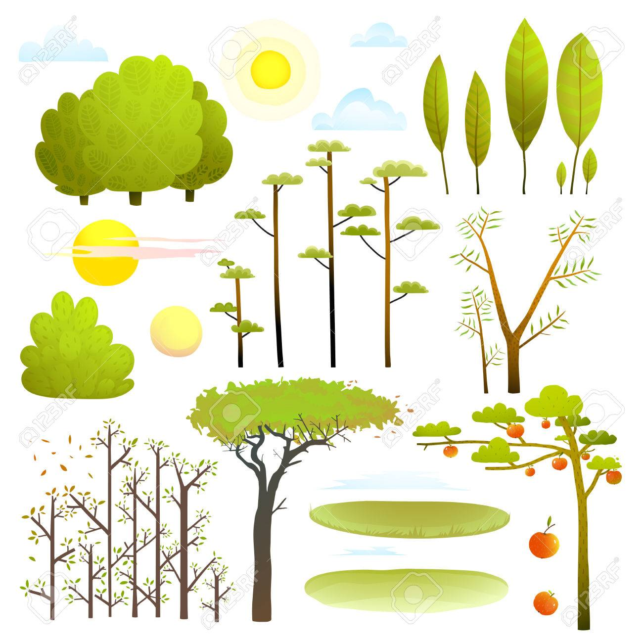 Trees nature landscape objects clip art collection - 74486458