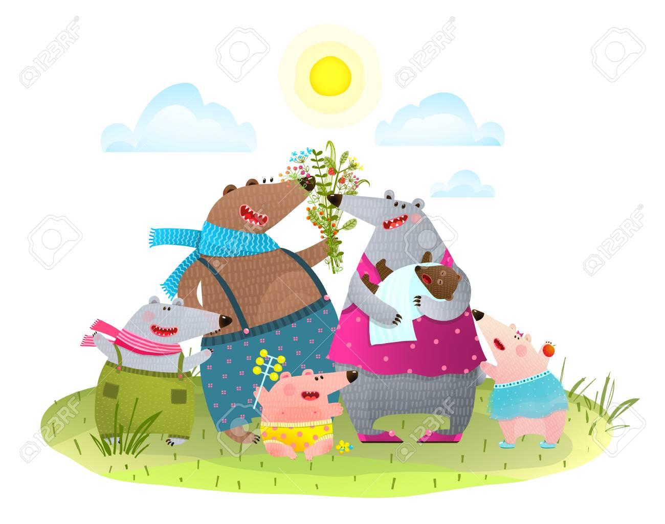 Colorful cartoon animal family portrait Vector illustration. - 85418704