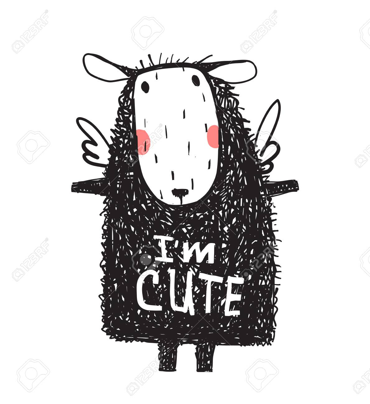 I Am Cute Hairy Sheep Sign Card Print Royalty Free Cliparts