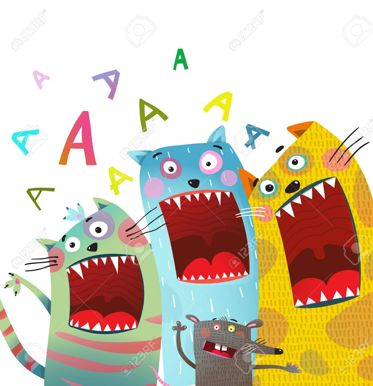 Cats and rat song singing mouth open. Vector illustration. - 94897546