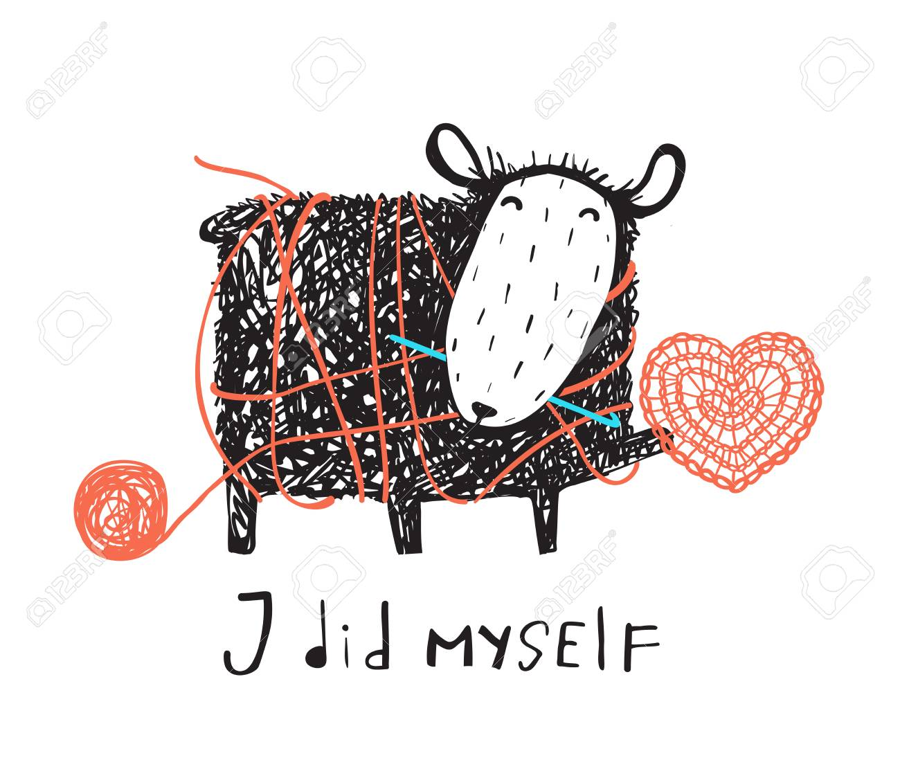 Adorable sheep crocheting a heart with a sign. Vector illustration. - 101706334