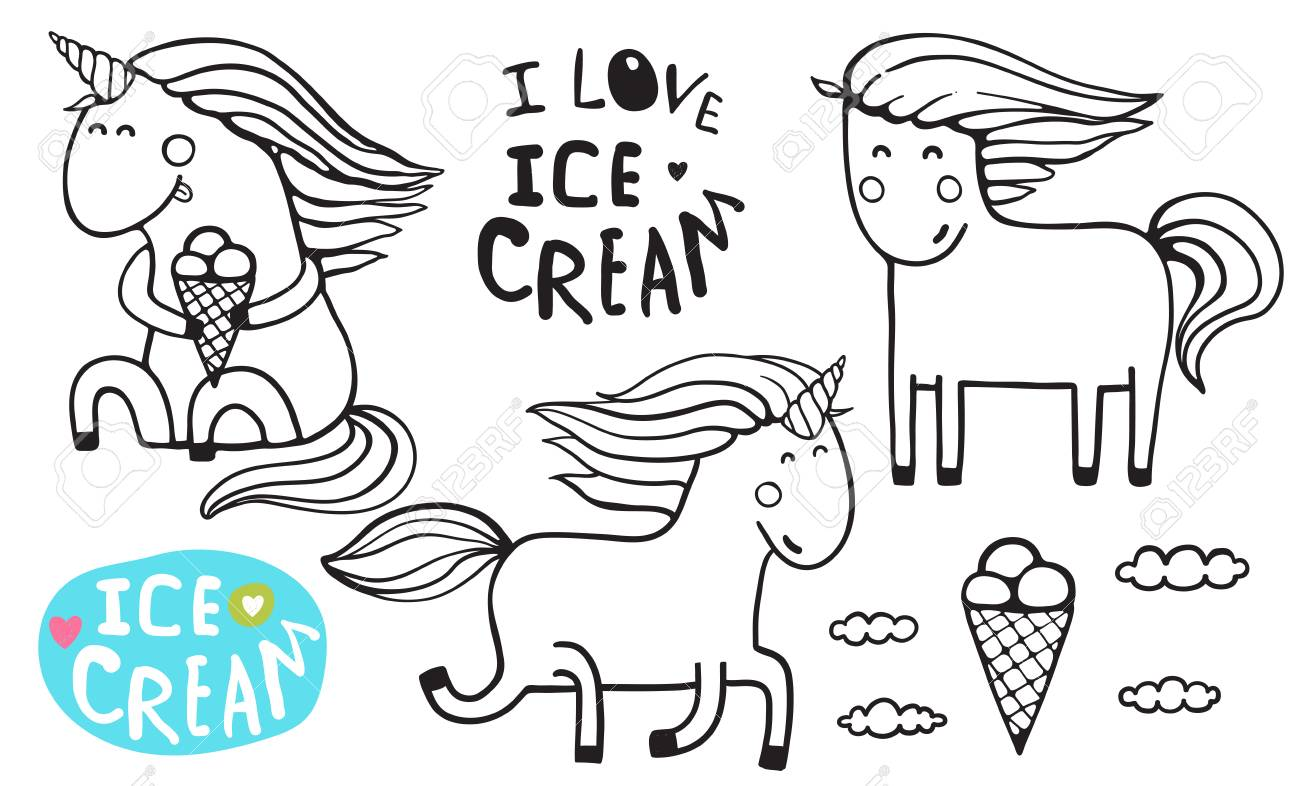 Unicorn Ice Cream Outline Coloring Page
