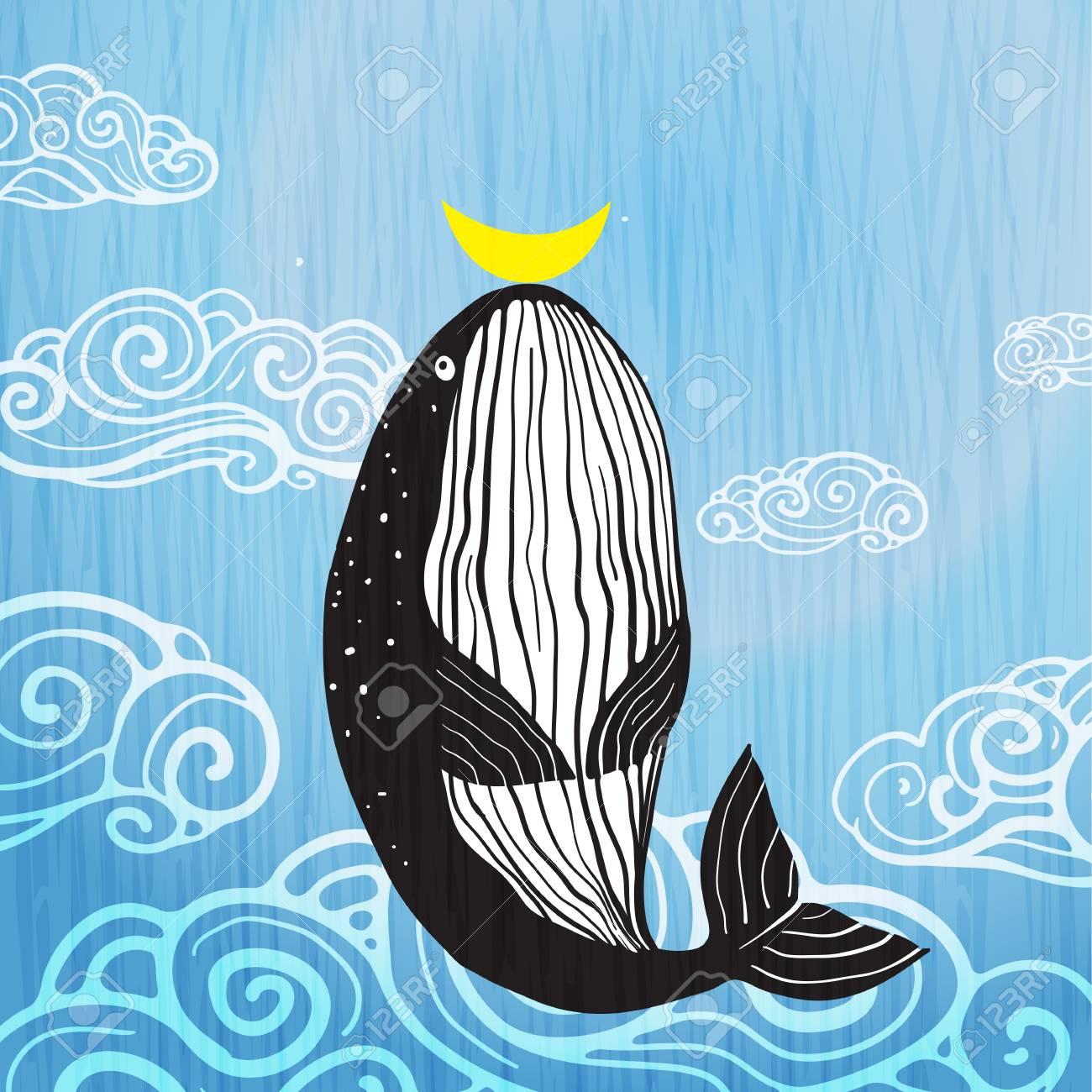 Cute Whale moon and ocean print design. Vector illustration. - 112344678