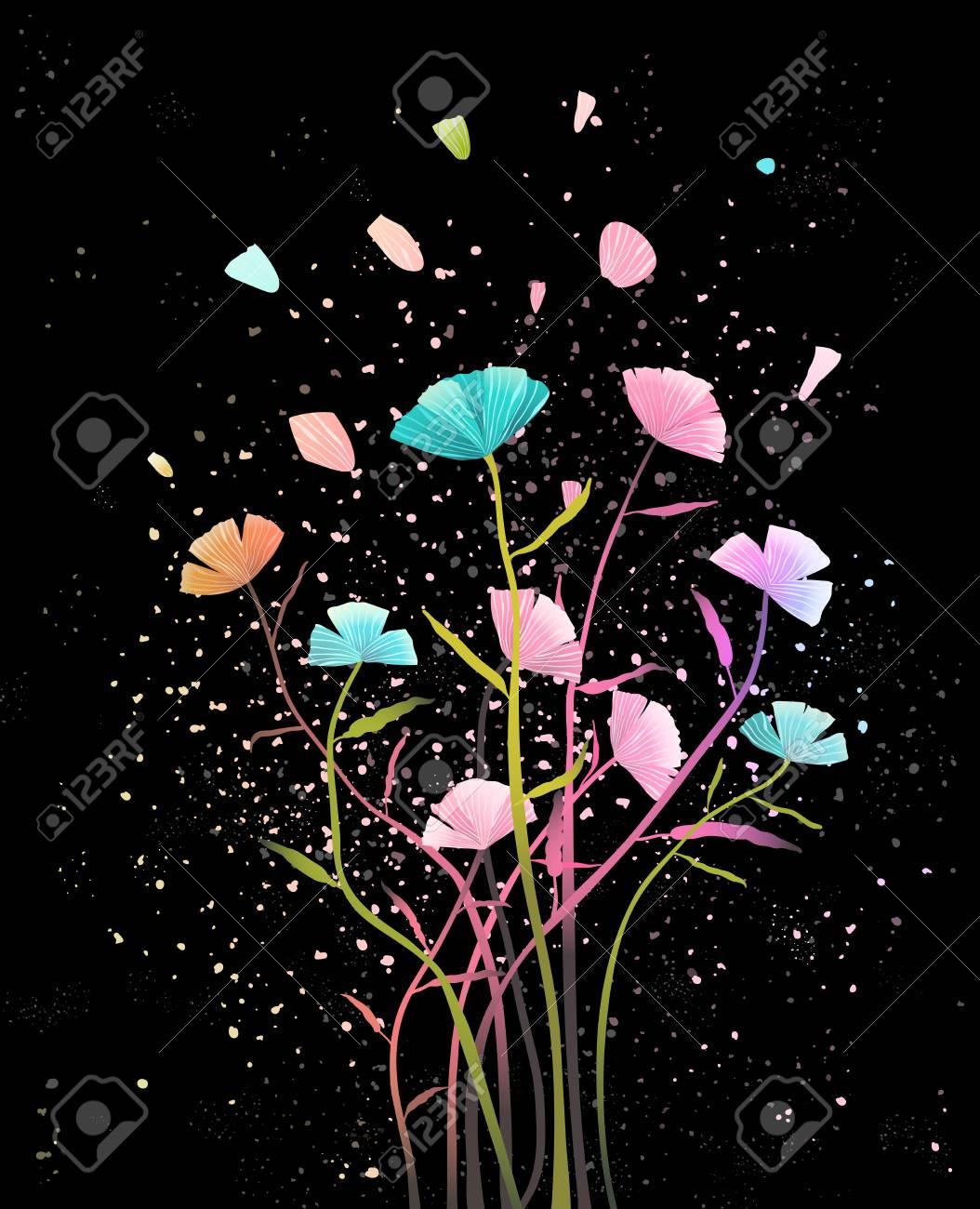 Floral design on dark background. Vector design. - 112321491