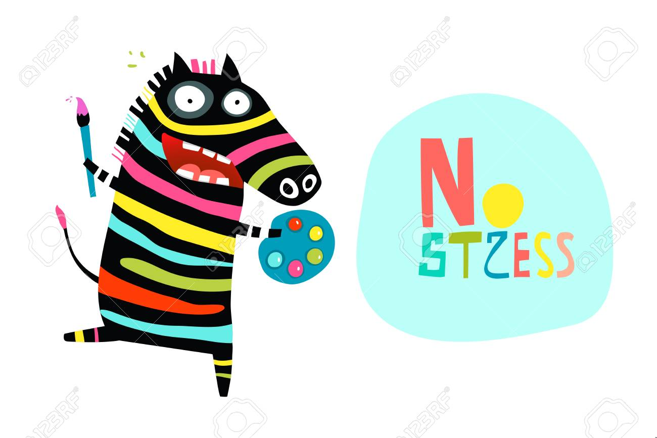 Funny Stress Relief Cartoon With Happy Zebra Royalty Free Cliparts Vectors And Stock Illustration Image 125779440