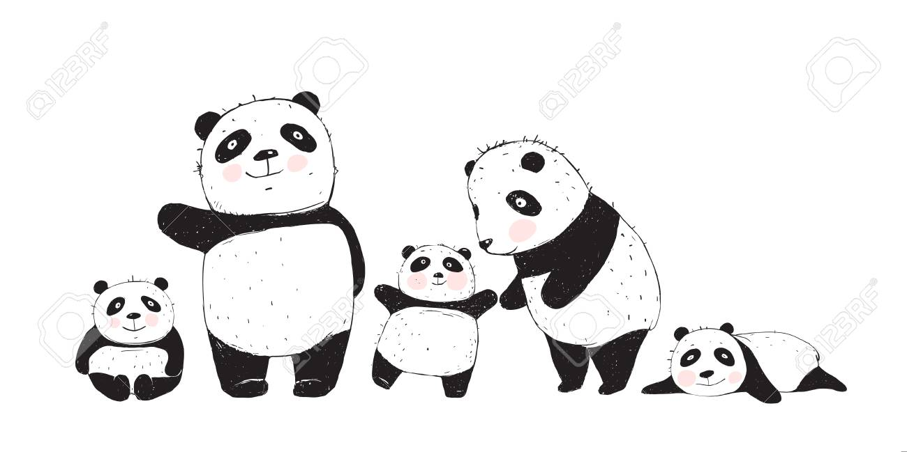 Cute Panda Bears family, mother father and kids isolated. - 122689749