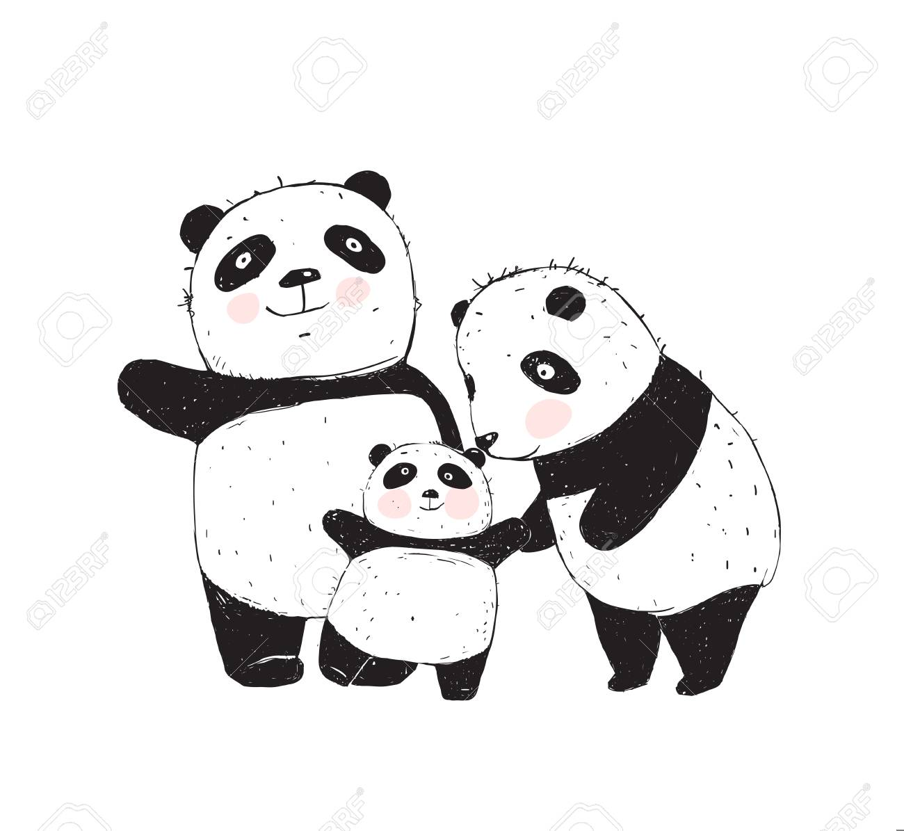 Family of three cute pandas parents and a kid. - 124734760