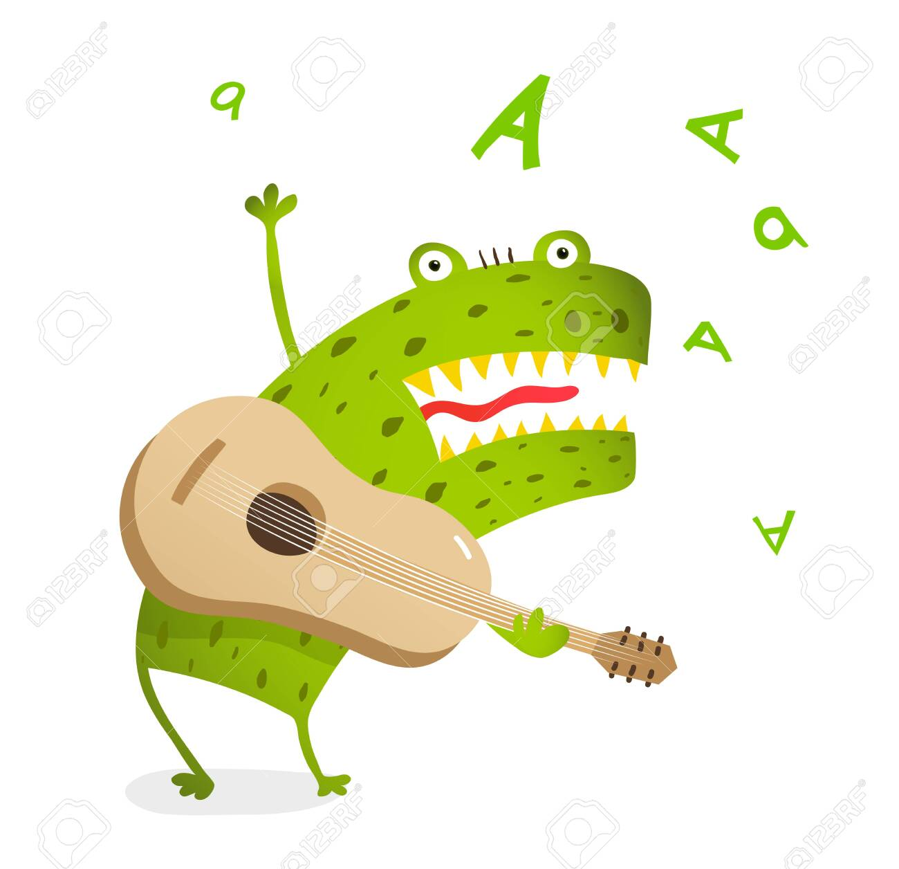 Funny monster playing guitar and singing  Cute music cartoon