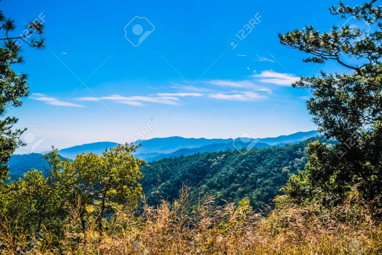 big mountain with blue sky background - 144235167