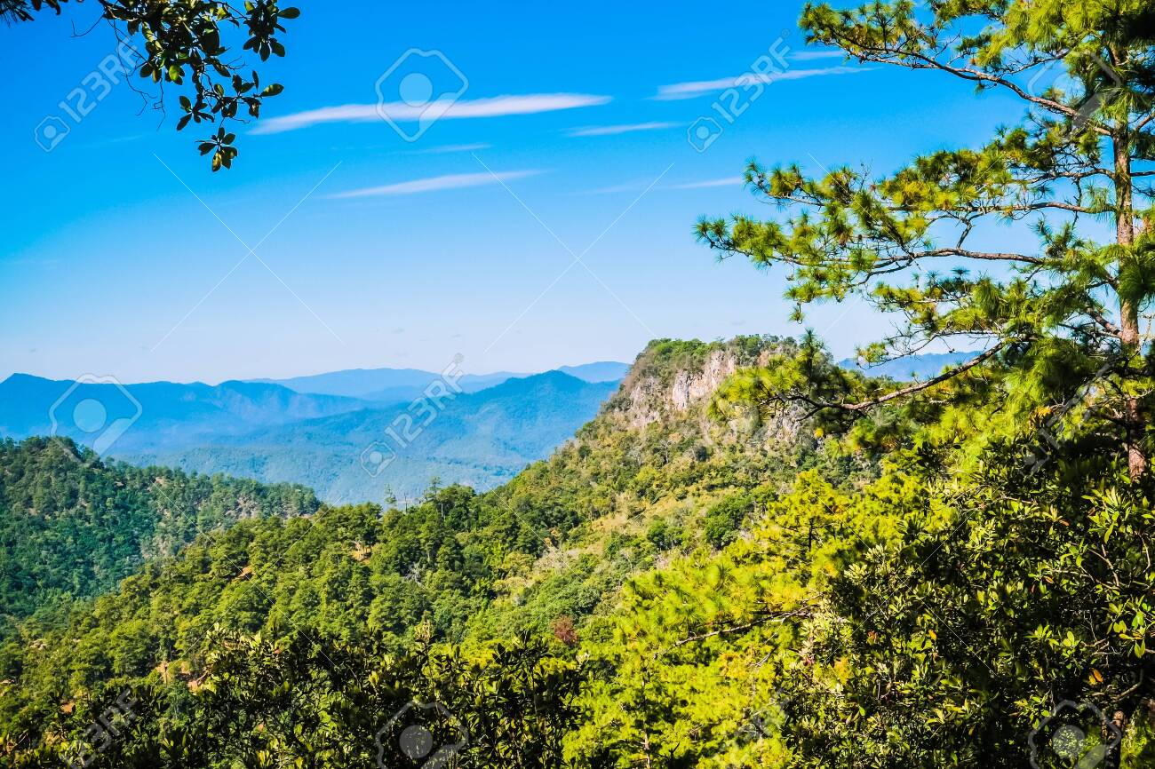 big mountain with blue sky background - 144235170