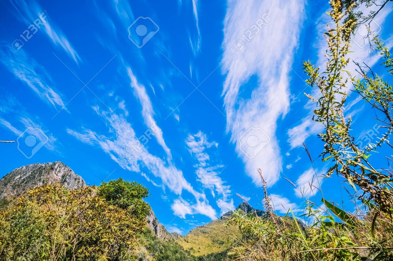 big mountain with clear blue sky - 144145211