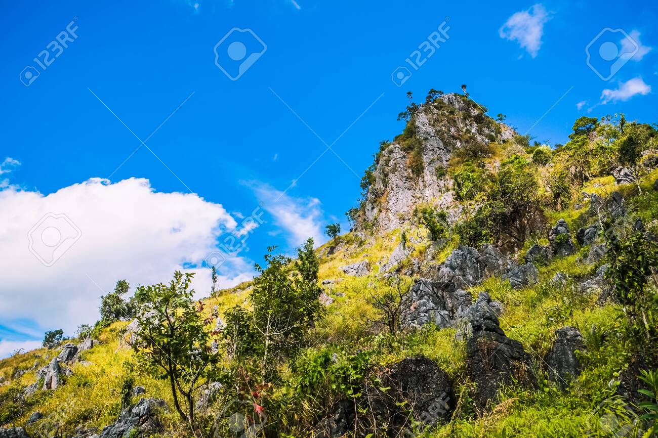 big mountain with clear blue sky - 144043845
