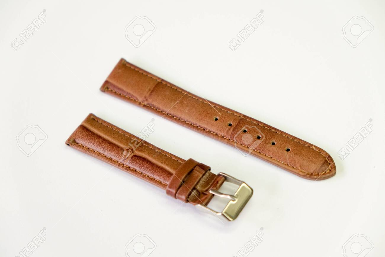 leather watch strap object isolate on the white background - 144043963