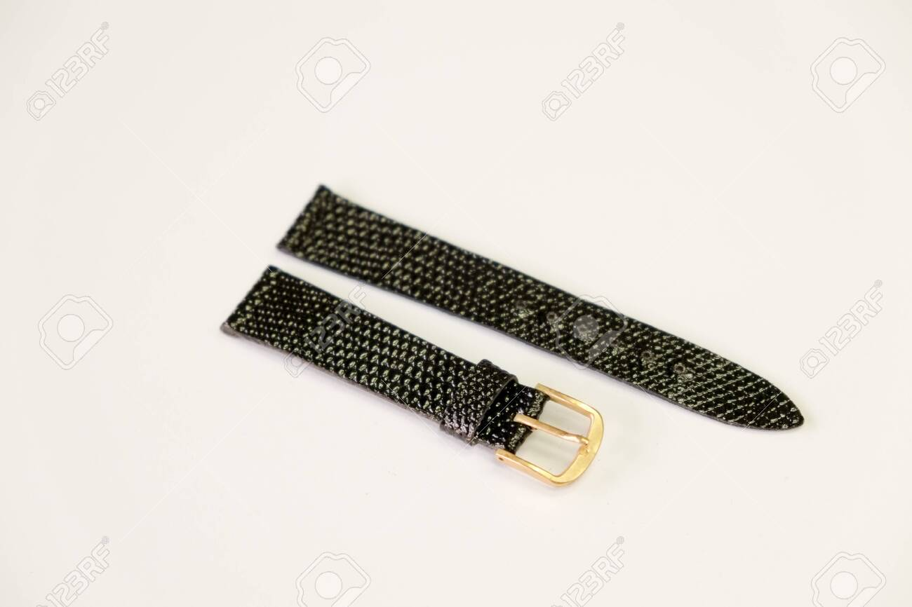 leather watch strap object isolate on the white background - 144043968