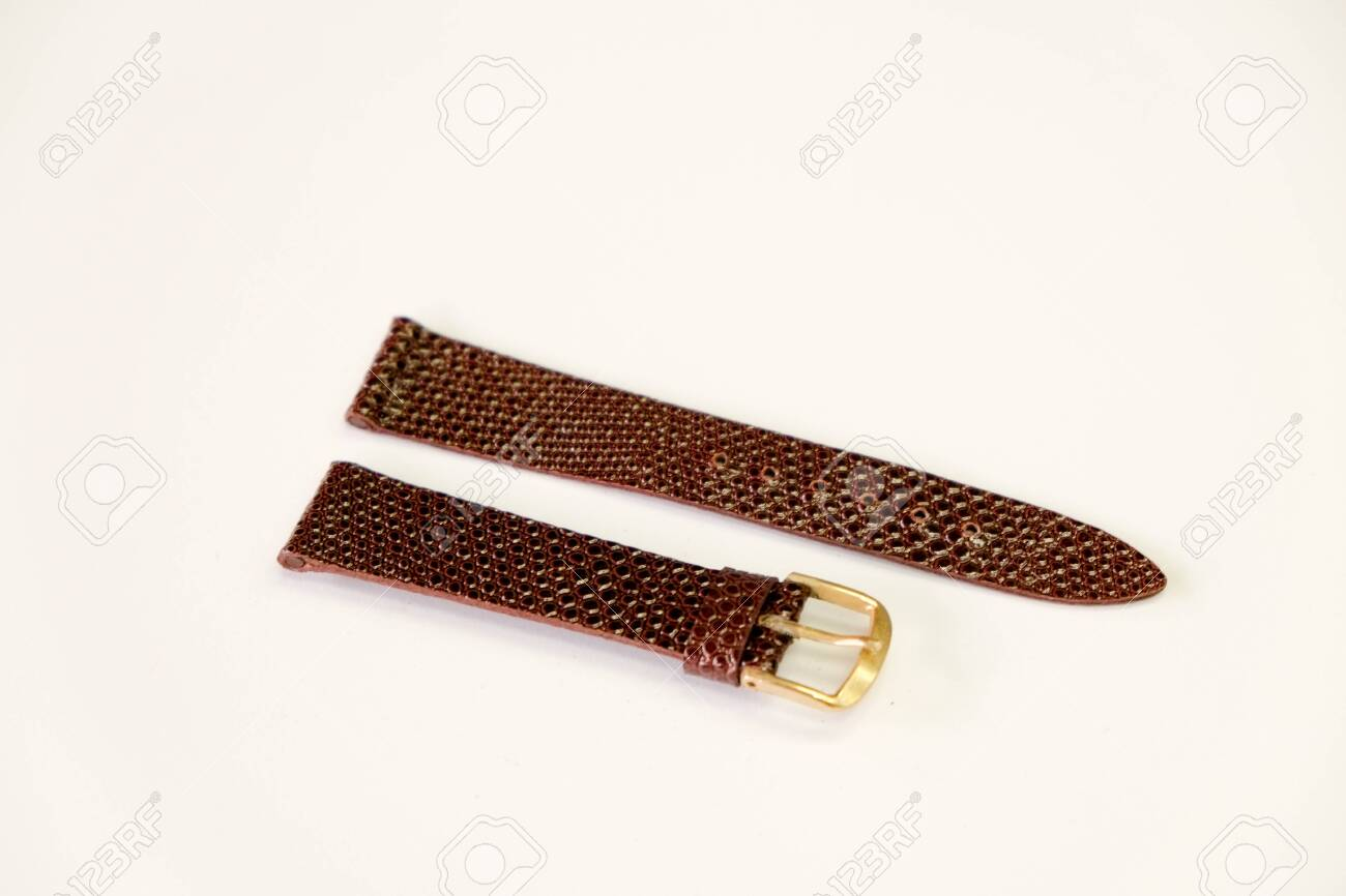 leather watch strap object isolate on the white background - 144044005