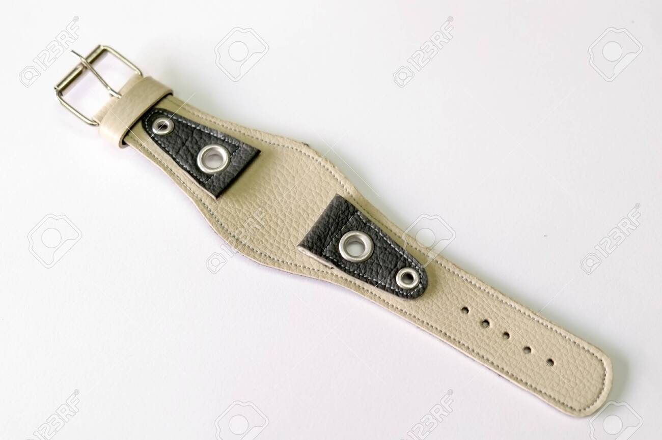 leather watch strap object isolate on the white background - 144043993
