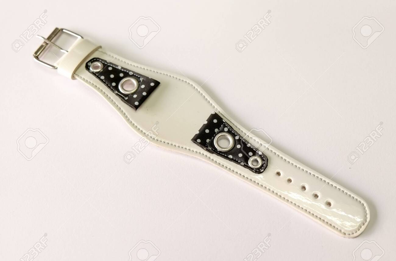 leather watch strap object isolate on the white background - 144043995