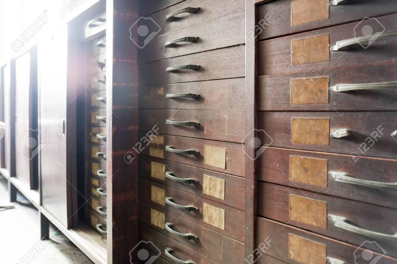 vintage drawer at the old shop display - 144044127