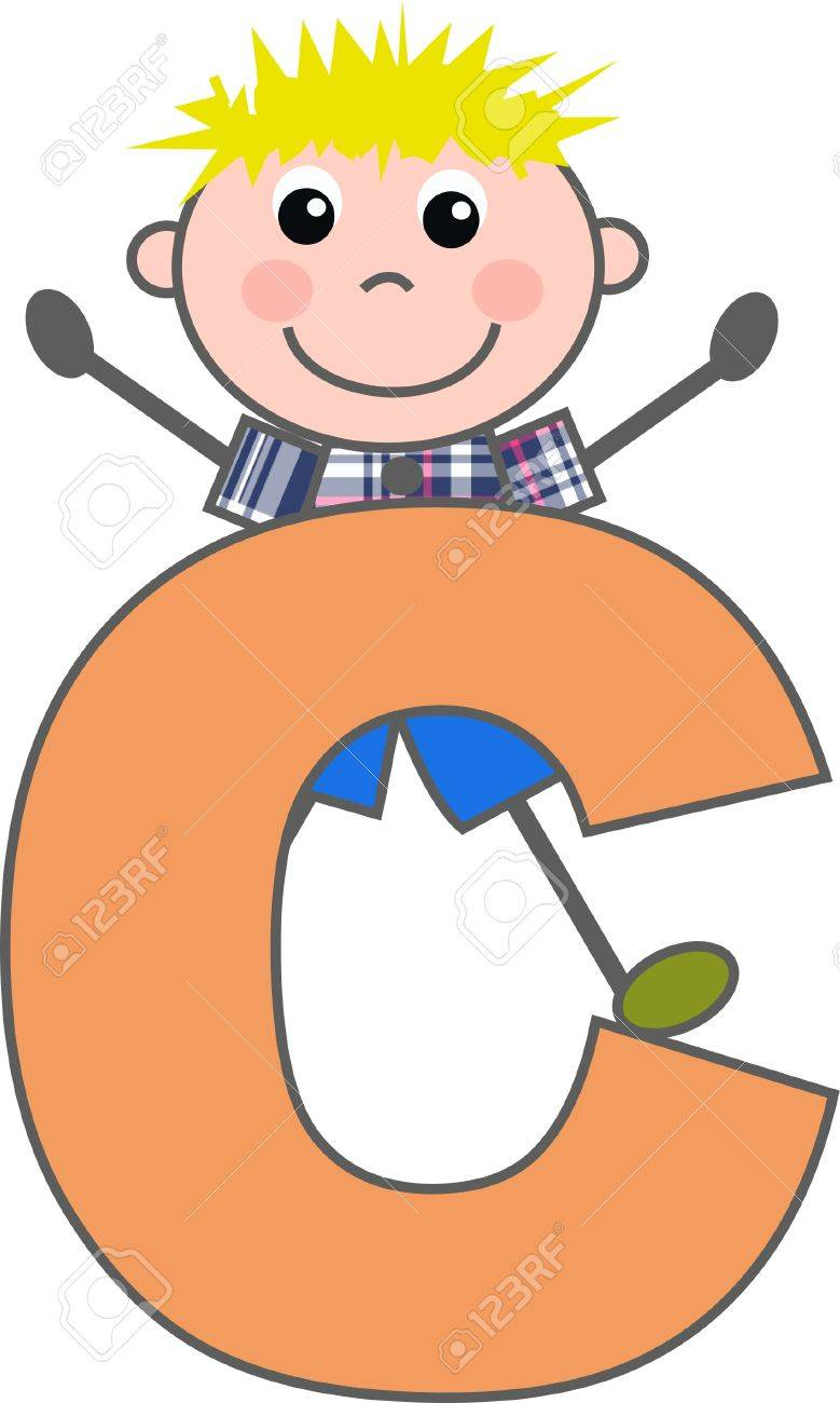 a boy with letter C Stock Vector - 7633975