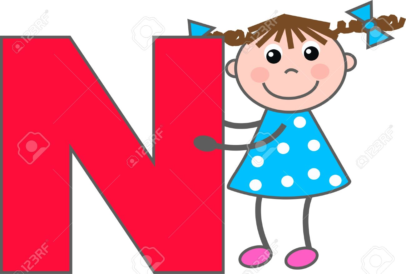a girl with letter n royalty free cliparts, vectors, and stock