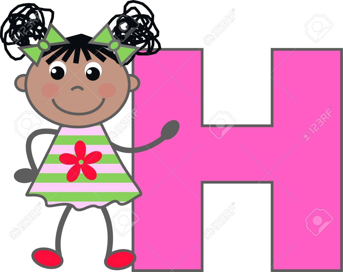 A Girl With Letter H Royalty Free Cliparts, Vectors, And Stock ...