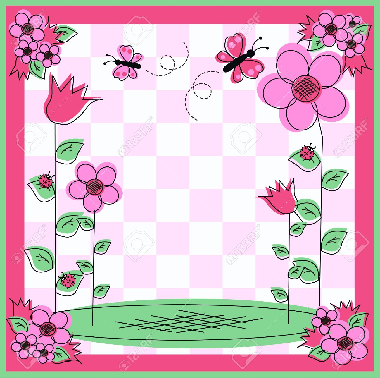 vector flower and butterfly frame