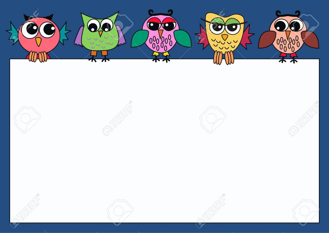 colorful owls holding a card Stock Vector - 9106178