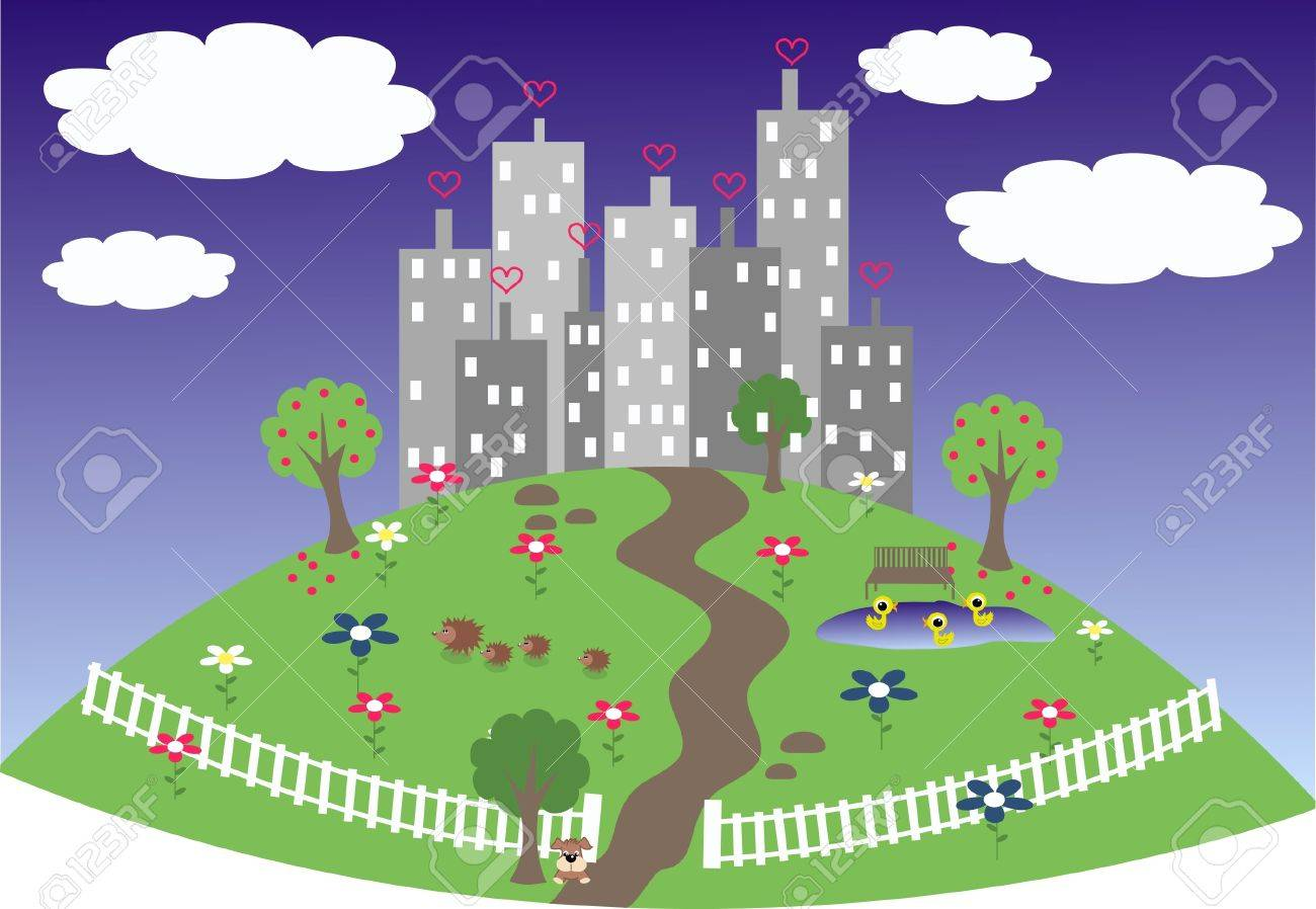 a friendly city on a hill Stock Vector - 9247757