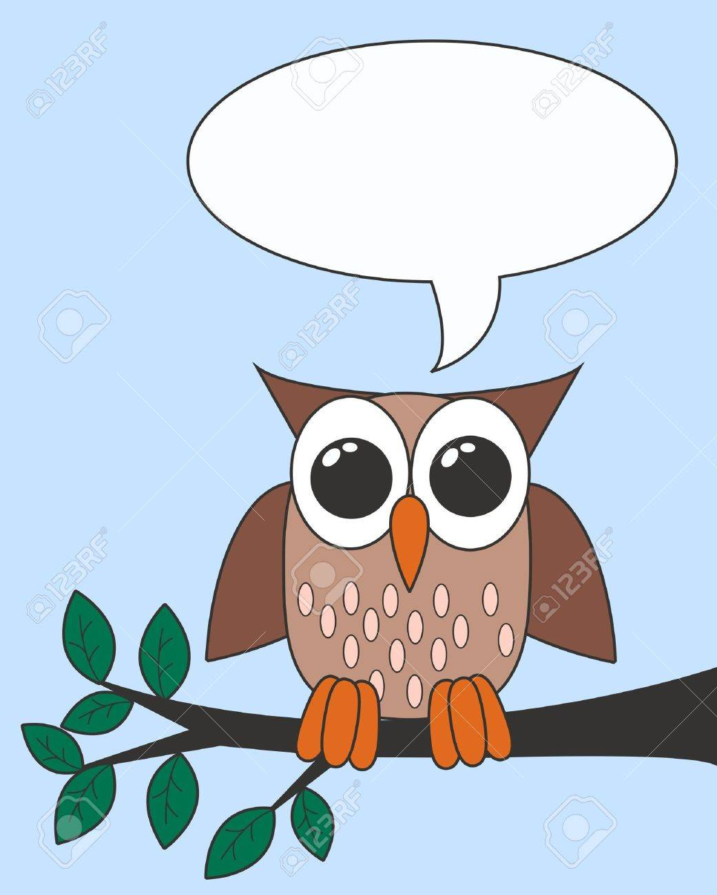 owl with a speech bubble royalty free cliparts vectors and stock rh 123rf com Silhouette Owl Clip Art Owl Drawings