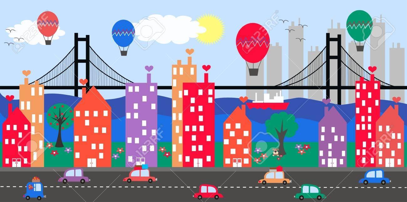 Cartoon City Skyline City Skyline Cartoon City