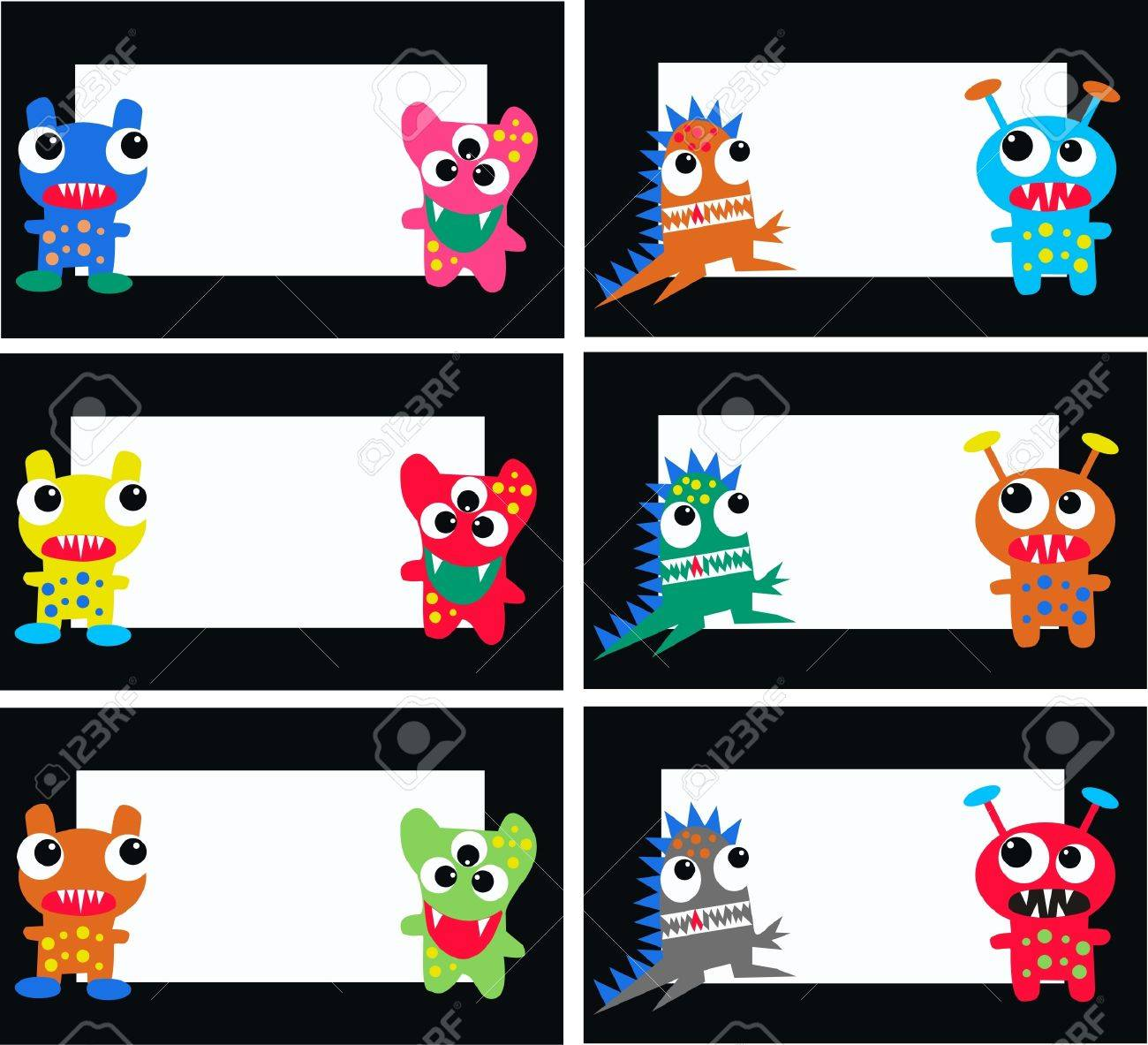 monster cards Stock Vector - 10443243