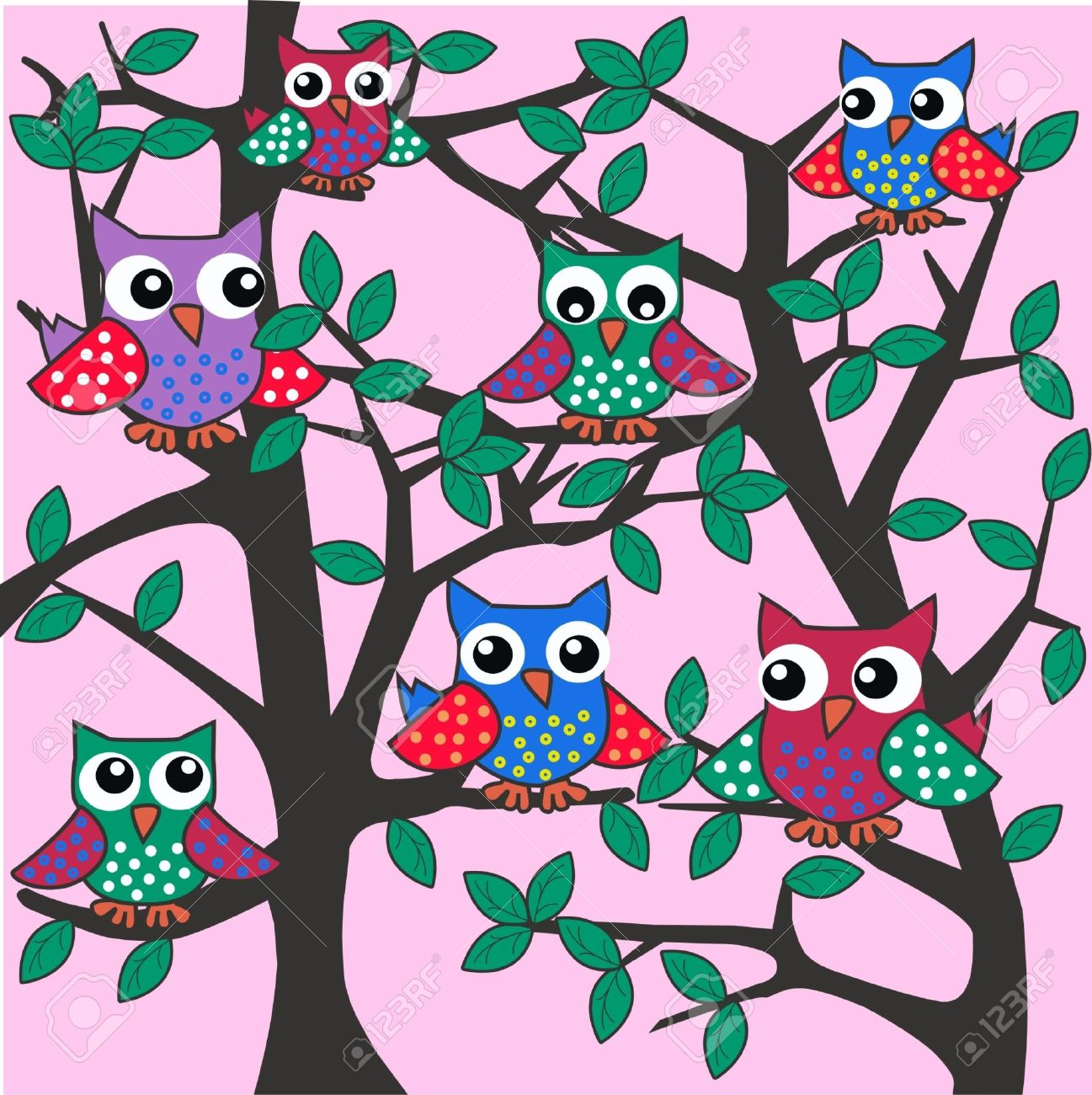 colourful owls sitting in a tree Stock Vector - 10575161
