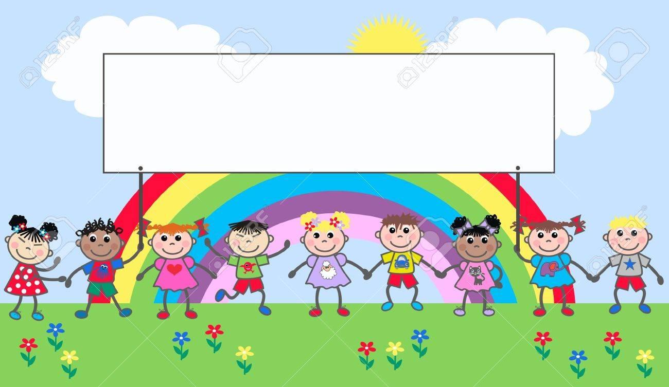 mixed ethnic happy kids Stock Vector - 10598567