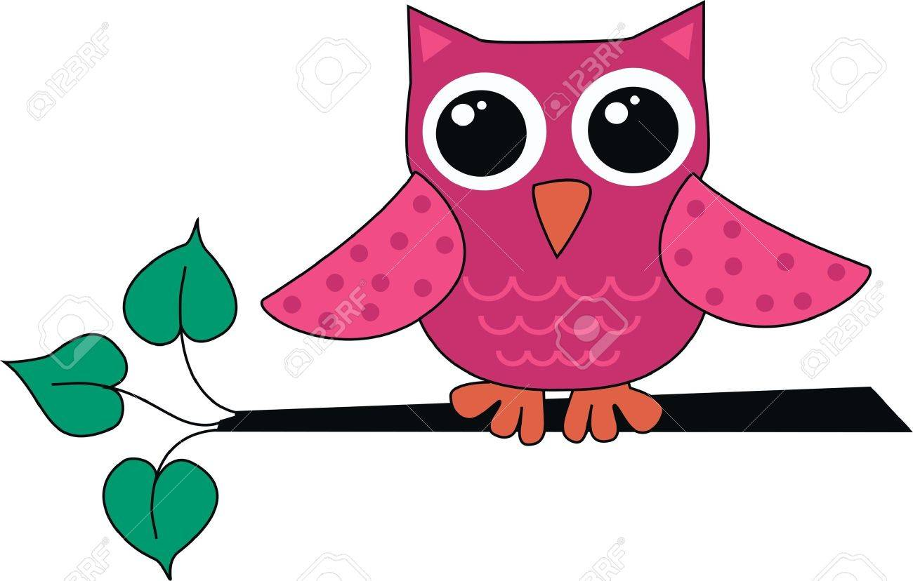 a cute little pink owl Stock Vector - 10800345