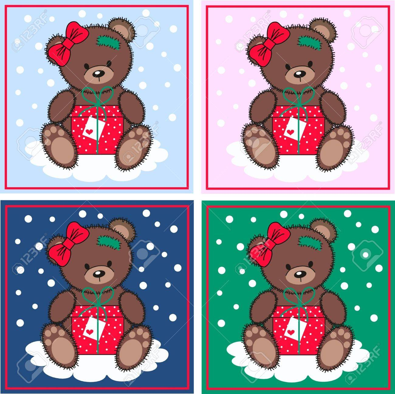 cute bears with a gift box Stock Vector - 11104807